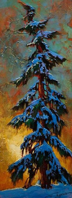 """Winter Isolation,"" by David Langevin - Acrylic Impressionist Paintings, Landscape Paintings, Winter Painting, Canadian Art, Winter Landscape, Tree Art, Christmas Paintings, Artist Art, Painting Inspiration"