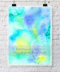 "Blue Print aquarelle abstraite-«Panache» 11 x 14""- bleu et vert aquarelle - Art abstrait - imprimé abstrait moderne - Art contemporain"