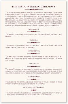 Hindu Wedding Programs, Hindu Wedding, Order of Ceremony, Order of ...