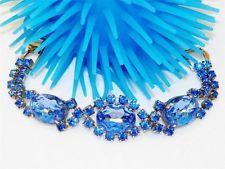 Vintage 1950's Powder Blue Rhinestone Bracelet. Very Pretty