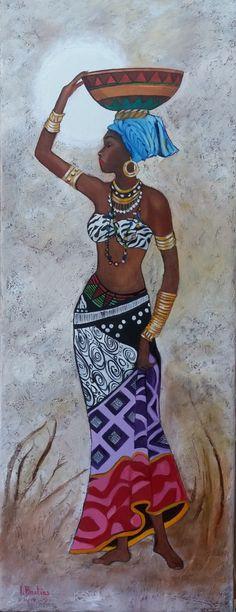 Black Love Art, Black Girl Art, Art Girl, African Artwork, African Art Paintings, African Princess, African Girl, Black Art Painting, Woman Painting