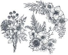 Trendy flowers illustration black and white hand drawn Flower Tattoo Designs, Flower Tattoos, Flower Designs, Flower Images, Flower Art, Pattern Vegetal, Composition Drawing, Hand Drawn Flowers, Flower Doodles