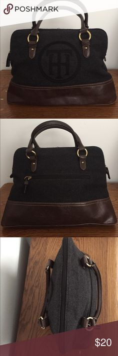 "Tommy Hilfiger Domed Satchel Tommy Hilfiger Domed Satchel in faux grey wool and brown natural grain leather. Has back zip pocket detail and fabric allows for maximal stuffing without puckering of dome! No signs of wear. Base is 15"" L, domes to 12"" L. Tommy Hilfiger Bags Satchels"