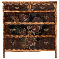 19th Century English Bamboo and Lacquer Chest of Drawers | From a unique collection of antique and modern commodes and chests of drawers at http://www.1stdibs.com/furniture/storage-case-pieces/commodes-chests-of-drawers/
