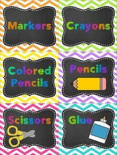 CLASSROOM SUPPLY LABELS {CHEVRON & CHALKBOARD} Chalkboard Classroom, Classroom Labels, Classroom Organisation, Classroom Supplies, New Classroom, Teacher Organization, Classroom Design, Classroom Displays, Kindergarten Classroom