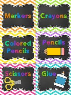CLASSROOM SUPPLY LABELS {CHEVRON & CHALKBOARD}