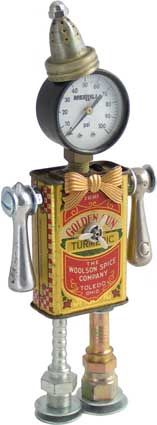 Principal Components: Spice tin, pressure gauge, salt shaker, faucet handles, toy propeller, hydraulic fittings