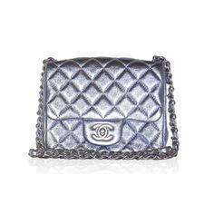 Chanel Lavendar Metallic Mini Classic Flap Bag found on Polyvore
