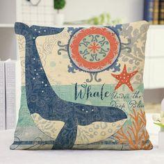 Similar but whale applique pillow. Cute Ocean Whale Letter Pattern Pillow Case