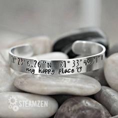 My Happy Place Disneyworld Coordinates Cuff Bracelet  for my #disneysmmoms