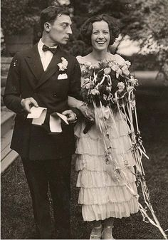 Buster Keaton and Natalie Talmadge on their wedding day :) <3