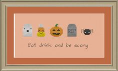 Eat, drink, and be scary: cute kawaii Halloween cross-stitch pattern