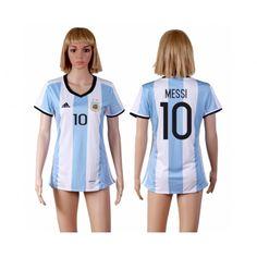 Argentina Trøje Dame 2016 Lionel #Messi 10 Hjemmebanetrøje Kort ærmer,208,58KR,shirtshopservice@gmail.com