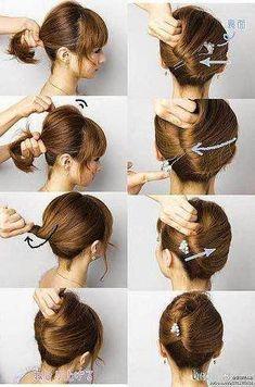Easy Hair Updos for Short Hair - Hair Tutorials Work Hairstyles, Trendy Hairstyles, Braided Hairstyles, Wedding Hairstyles, Winter Hairstyles, Beautiful Hairstyles, Graduation Hairstyles, Long Haircuts, Layered Haircuts