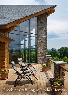 Custom Log Home Deck | Exterior View | by PrecisionCraft Log Homes by PrecisionCraft Log Homes & Timber Frame, via Flickr