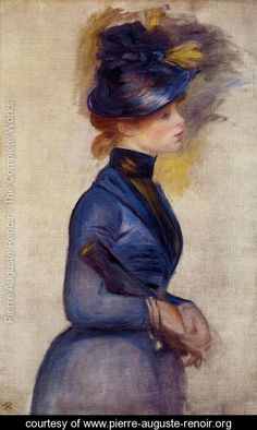 Young Woman In Bright Blue At The Conservatory - Pierre Auguste Renoir - hink he must have loved blue too . .