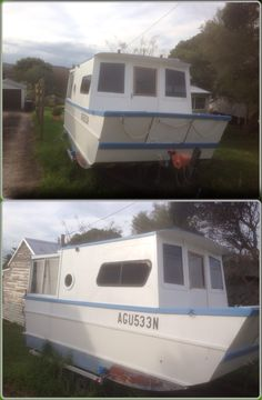 This is the perfect trailer-able houseboat! All it needs is a roof added over the front deck to protect you from the sun and rain.