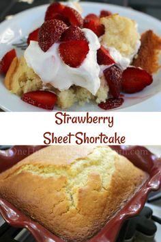 Strawberry Sheet Shortcake, Shortcake Recipes, Strawberry Recipes, Recipes for Picnics, Strawberry Shortcake desserts by orleysheila … Köstliche Desserts, Delicious Desserts, Yummy Food, Alcoholic Desserts, Healthy Food, Healthy Meals, Cupcakes, Cupcake Cakes, Bee Cakes