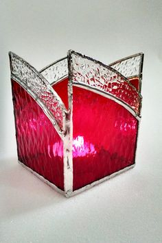 Stained Glass Candle Holder Red and Clear by StainedGlassYourWay