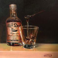 """Pecans & Honey"" 12x12 #oilpainting  @seasideartgallery #OBX #classicalstilllife #classicalrealism #boldbrush #beach #debrakeirce #OuterBanks #nagshead #northcarolina #rum #pecans #honey #liquor"