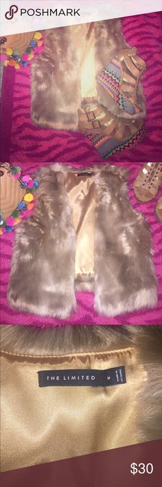 Light brown fur vest 💕✨ Beautiful light brown fur vest 💕✨super soft fur with satin lining. Perfect for fall 🍃🍂🍁 The Limited Jackets & Coats Vests