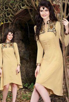#Readymade #Cream #Georgette #Kurti #nikvik  #usa #designer #australia #canada #freeshipping #fashion #dress #tunic