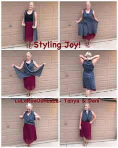 Want a new way to style LuLaRoe Joy? Check out this very simple hack! It's easy to style! Cross the front pieces, tie like a halter top, adjust it all to the way you want it to look, tuck the back into a flowly skirt (I'm wearing Lola) and there you go!  #lularoe #lularoejoy