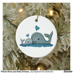 Whale Mom and Baby Swimming in the Sea Ceramic Ornament Baby First Christmas Ornament, Baby Ornaments, Babies First Christmas, Christmas Cards, Baby Whale, Elephant Trunk, Baby Swimming, Unique Photo, Mom And Baby