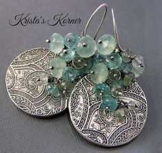 Paisley Gypsy PMC Recycled Silver & Gemstone by kristaskorner, $75.00