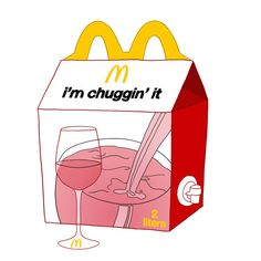 A limited edition McDonald's wine glass, complete with boxed wine.