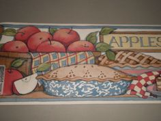 Fashion Point Wallpaper Border Country Kitchen Apples Apple Pie