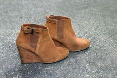 Vintage Brown Suede Wedge Ankle Booties by PanhandleParkVintage
