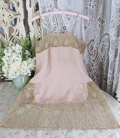 Exquisite-Antique-French-Alencon-Lace-Pink-Silk-Slip-Nightgown-Lingerie  Vintageblessings