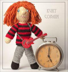 Handmade crochet travel toy - amigurumi travel buddy OOAK doll Kurt Cobain Nirvana with a guitar friend traveler best photo vacation trip