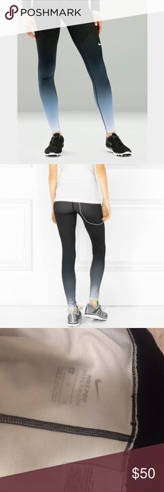 Nike Pro Hyperwarm Ombre Leggings These leggings are rare and no longer sold! These ones are the black-white ombre! Size large but it really fits like a size 6/8. I would be open to trades! Nike Pants Leggings