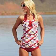 It's back! Nautical Plaid Halter from Divinita Sole #Swimwear by #DiviineModestee