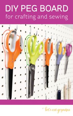Clear off your desk and organize your sewing and crafting tools with this DIY peg board. Pinned 1.7K times!