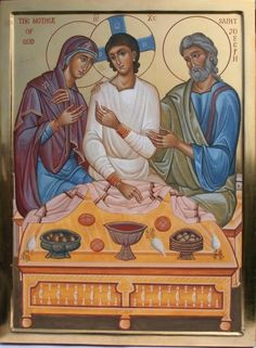 Holy Family icon by Aidan Hart, depicting Jesus as a young man! Religious Pictures, Jesus Pictures, Religious Icons, Religious Art, Byzantine Art, Byzantine Icons, Catholic Art, Catholic Saints, Russian Icons