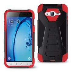 Reiko Samsung Galaxy J3 Hybrid Heavy Duty Case (Silicon Case+ Protector Cover) With Kickstand-Red Black