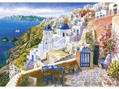 Title: View of Santorini Artist: Sam Park Description: Sam Park captures the essence of Santorini, Greece in View of Santorini. Mediterranean Paintings, Hirsch Tattoo, Greece Painting, Pintura Exterior, Paint By Number Kits, Park Art, Beautiful Places To Visit, Beautiful Paintings, Beautiful Scenery