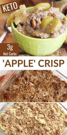 Most people can't even tell this mock low-carb apple crisp is made with zucchini! That's why is a great keto dessert to share with friends and family. Healthy Low Carb Recipes, Low Carb Dinner Recipes, Low Carb Desserts, Keto Dinner, Keto Recipes, Apple Desserts, Apple Crisp Recipes, No Sugar Foods, Fat Foods