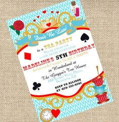Party Invitations : Alice in Wonderland Invitations with Chevron Pattern Border and Modern Frame featuring Beautiful Flower Clip Art - Alice In Wonderland Party Invitations Inspirations Ideas Alice In Wonderland Invitations, Alice In Wonderland Tea Party, Mad Hatter Party, Mad Hatter Tea, Tea Party Birthday, 5th Birthday, Birthday Ideas, Tea Party Invitations, Invites