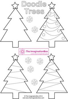 free christmas tree doodles, decorate and make your own gift tags, garlands and greetings cards