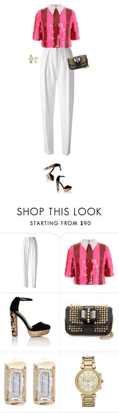 """How to Style a Pink and Red Sequin Shirt with White Pants for Galentine's Day"" by outfitsfortravel ❤ liked on Polyvore featuring Joseph, House of Holland, Lipsy, Christian Louboutin, Loren Stewart, Michael Kors and Cartier"