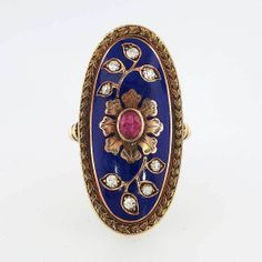 Victorian Large Stunning Blue Enamel, Ruby & Rose Cut Diamond Ring 9k