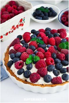 Tarta z mascarpone i owocami - I Love Bake Blueberry Cake, Food Cakes, No Bake Desserts, Food Styling, Cake Recipes, Raspberry, Food Photography, Cheesecake, Good Food