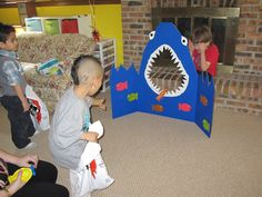 feed the shark   ... Feed the Shark Bean Bag Toss, Pin the Fin on the Shark and Treasure Make this for me Tia @denisecmann