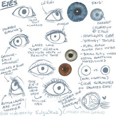 tessamack:    So I took it into my own hands to make a reference file for eyes. These are mostly personal observations, but will hopefully be useful to other artists! But it's mostly just notes.