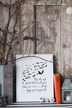Halloween Free Printable and decorative Vignette by Finding Home Farms