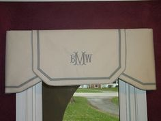 Custom Ordering Listing Ivory Natural or White Gray Classic Valance with tone on tone monogram from bath- lg window over tub